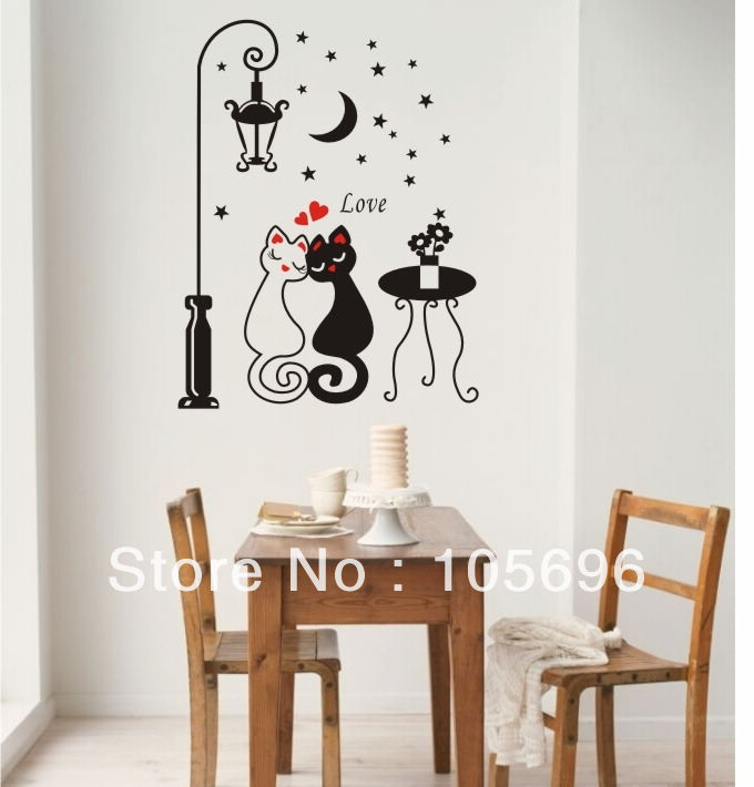 CARTOON Wall decor Home stickers Decals PVC Vinyl Art Carved street light ZZ187 Lover cat 90*120cm(China (Mainland))