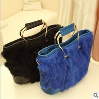 Wholesale and retail 2012 rabbit fur bags metal fashion leather handbag messenger bag brand designer handbag messenger bag
