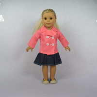 """Doll Clothes Fits 18"""" American Girl Dolls,Doll Outfit, Doll Dress,Pink Coat + Denim Skirt, 2pcs, Girl Birthday Present Gift, A04"""