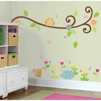Free Shipping:Cute Owl Scroll Tree Branch 3D Wall Decals/Removable PVC Wall stickers Mural For Kids Nursery Room Decor 120*130c