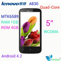 Supports Russian Original lenovo a830 Black  MTK6589 Quad-Core WCDMA 8.0MP  RAM 1GB / ROM 4GB 5 inch QHD 3G free shipping
