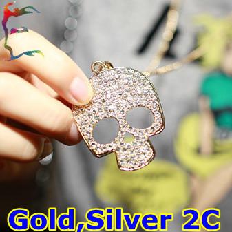 Free shipping fahsion full rhinestone big skull head skeleton pendant necklace 24pcs/Lot gold silver necklace jewelry