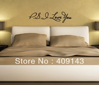 PS I Love You Removable Vinyl Wall Art Quotes Sticker DIY House Drawing Room Decoration Decal Decorative Gift freeshipping