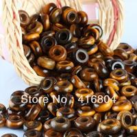 50PCS Tiger's Eye Stone Spacer Beads European Charm Big Hole Beads Fit Bracelet
