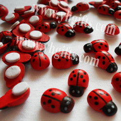 1000pcs/lot Mini wood ladybug stickers Easter decoration Spring stickers Fridge magnet 13x9mm Free shipping wholesale(China (Mainland))