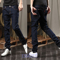 Mens Korean Style Slim Fit Little Feet Blue Jeans Fashion Long Pants Trousers JX0053