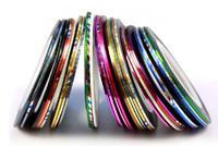 Free shipping, 32 mix colors Self Adhesive metalic yarn Strip Tape Line Nail Art Design Decoration Sticker, 32pcs/lot
