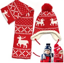 2012 new autumn and winter , Christmas magic deer and velvet ear protectors children hats, hat + scarf , Free shipping(China (Mainland))