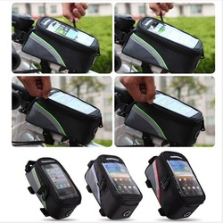 New Wholesale Waterproof Cycling Sport Bike Accessories Bicycle Frame Pannier Front Tube Bag For Cell Phone Red / Blue / Green(China (Mainland))