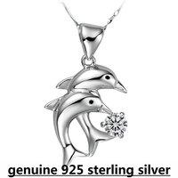 Kastm brand wholesale 925 sterling silver platinum  women double dolphine  diamond pendant choker necklace   ksn035
