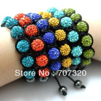 50% discount Hot selling 10 bracelets   10 mm x 7  clay rhinestone beads shamballa beads bracelet Free Shipping