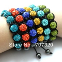 50% discount Hot selling 10 bracelets   10 mm x 7  clay rhinestone beads shamballa beads bracelet Free Shipping