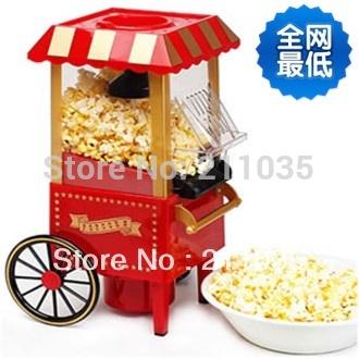 Hot Sale Hot by CPAM diy mini carriage shape nostalgic air popcorn machine poper pop corn maker with EU plug red 1.8kg,R93(China (Mainland))