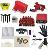 Complete Tattoo Kit 2 Rotary  Machine Guns Set Equipment Power Supply 40 Color Inks