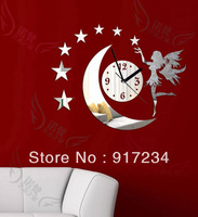 Free shipping diy derlook fashion wall stickers decoration mirror clock mirror clock living room wall clock Kc-036