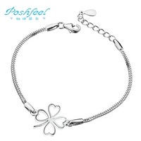 Free shipping PF brand bracelets fashion simple Clover style 925 pure silver & cover 3 layers of platinum female bracelets