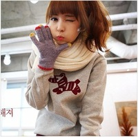 Free shipping 2012 Autumn and winter women's cartoon outerwear loose  thickening sweatshirt DZ1372