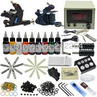 Tattoo Kit Machine Gun&9 Colors Ink Needles power Equipment Set Supply by DHL