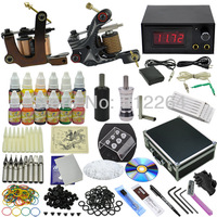 Professional Tattoo Kit 2 Machines Gun Equipment Inks Set Supplies & Alloy Case shipping by DHL