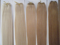 "18"" 20"" 22"" 45cm-55cm 24# Natural Blond Colour Hair Weft Weave Hair 100% Human Indian Remy Hair Extensions 100g/lot  AAA Grade"
