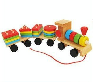 Free Shipping The Shape Of Three Section Blocks Cars Small Tractor Train Environmental Protection Wooden Toy Train(China (Mainland))