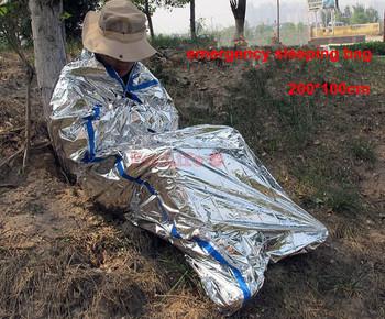 New Reusable Waterproof Emergency Foil Sleeping Bag thermal blanket Outdoor Survival Hiking Camping 2pcs