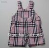 kd1724 Summer popular checked plaid overalls pants trousers 1T 2T SALE PINK