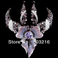 High Quality Austrian Purple Crystal Fashion Rhodium Plated Costume Jewellery Butterfly Jewelry Set