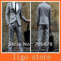 new  men's fashion brand men's business suit peaked collar /1 button   slim  suits for men light grey
