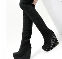 Studde Women Boots High Heel Over The Knee,Rhinestone 2014 Women Autumn Boots Women Boots Thigh High Boots Platform