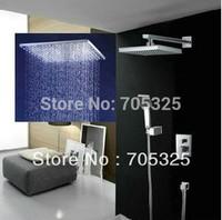 Luxury 12-inch Rainfall Square 3 Color LED Shower Head Valve Bathroom   Shower  Set  Chrome JN-0013