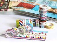 10 pcs/lot  Decoration multicolour transparent tape cartoon multicolour 9803 diy tape strapping tape photo album (ZM)