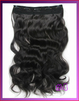 "24""(60cm)110g 5 clip in hair extension curly clip in hair extensions, hot resistent synthetic, color #4 medium brown"