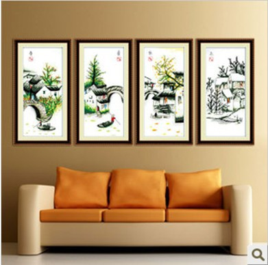계산 크로스 스티치 최고의 품질-- 고급스러운---- 4 봄 여름 가을 겨울 꽃 강변 풍경 무료 배송
