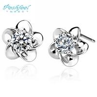 Wholesale jewelry  PF brand stud earrings five leaf flower 925 silver & AAA swiss crystal & platinum plated stud earrings