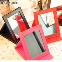 Wholesale quality exquisite PU desktop makeup mirror folding portable