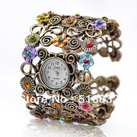 Hot Sale Rhinestone Popular Flower Ladies Bracelet Wrist Watch for Women free shipping