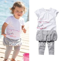 Free shipping!!girl fashion clothing set print t-shirt+pants kids short sleeve clothes children summer wears 5sets/lot