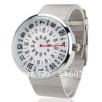 Brand New Navigational Style Quartz Wrist Watch Stainsteel Band free shipping