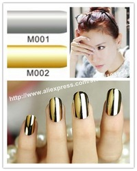 Free Shipping 10Pack/LOT NEW Fashion Nail Sticker MINX Gold and Silver Nail Foil Wrap Decals Shiny Nail Patch(China (Mainland))