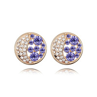 Free Shipping  New Arrival Unique Attractive Exquisite Austrian Crystal Champagne Gold Plated Multicolor Stud  Earrings