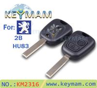 Free shipping high quality Peugeot 307 2 buttons remote key shell key blanks car key