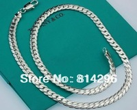Free  shipping    925  silver jewelry flat chain male necklace