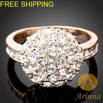 Free Shipping Arinna silver ring for women 18k gold plated Fashion pearl Ring Rhinestone  Crystals ring J1137