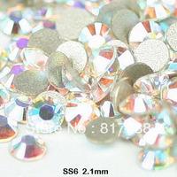 AAA+1440pcs/pack ss6 2.0-2.1mm  Free shipping crystal AB rhinestone flat back rhinestones