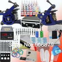Beginner Tattoo Kit 2 Machines Guns 28 Inks Grips Needles Power Supplies Equipment Set for tattoo starters(US Stock)K103