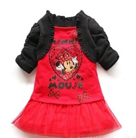 wholesale New arrival 2013 fashion kids girl cartoon Minnie print lace dress/black cape,chiffon lace, girls cute dress  90-130cm