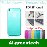 Wholesales For iphone 5 cases matte transparent case 0.5mm ultra thin crystal TPU case with dustproof plug multi-colors