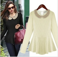 2013 Fashion pearl studded collar, waist bottoming shirt long sleeve winter free shipping