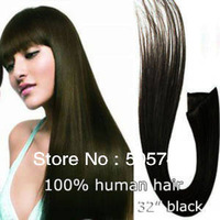 "free shipping!20""-28""#1 180g 12pcs jet black full around the head thick 100% human hair/Brazilian hair clip in hair extensions"